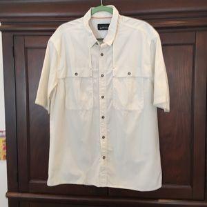 Men's white Orvis fishing shirt